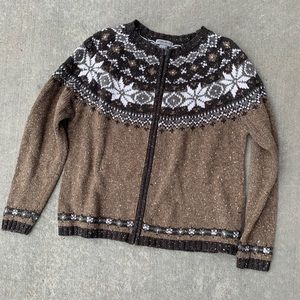 Eddie Bauer Large Brown Zip Up Sweater
